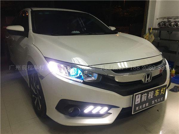 本田十代思域 车灯改装升级 汽车灯光升级carlamp双光透镜氙气车灯